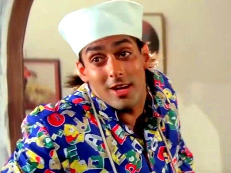 Salman Khan in the hilarious song Yeh Raat Aur ye Doori from Andaz Apna Apna.