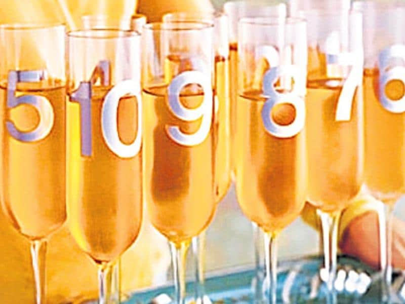 Ten..nine..eight..seven: Make countdown champagne glasses by painting a number from 1 to 10 on each glass. Serve it just before midnight and your guests can bring in the New Year by gulping down one glass each at the count of the number on their glass.