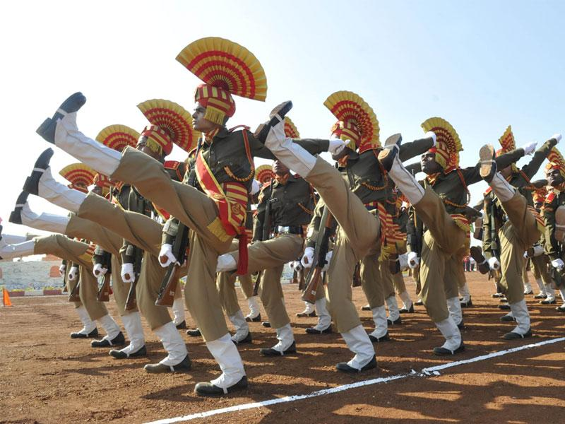Central Armed Police Forces' Sashastra Seema Bal (SSB) contigents take part in the passing out parade in Bhopal on Monday. (Mujeeb Faruqui/HT photo)