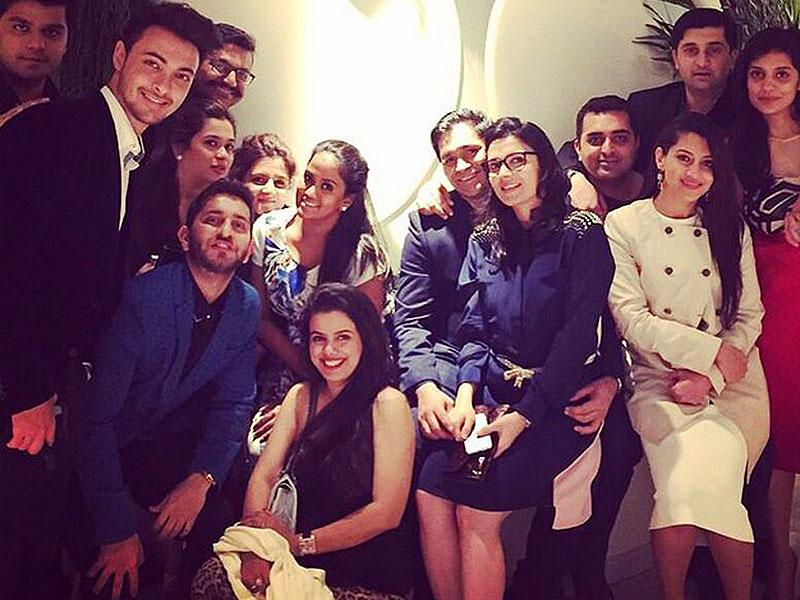 Salman Khan's sister Arpita celebrated New Year's Eve with husband Aayush Sharma and friends.
