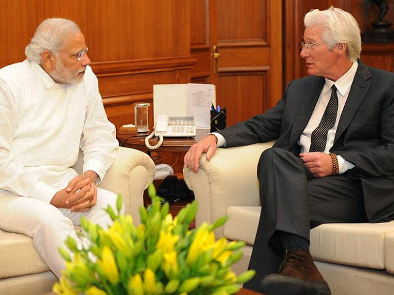 Hollywood actor Richard Gere, who is also the chairman of the Gere Foundation, met Prime Minister Narendra Modi on January 5. (Photo: Twitter/PIB_India)