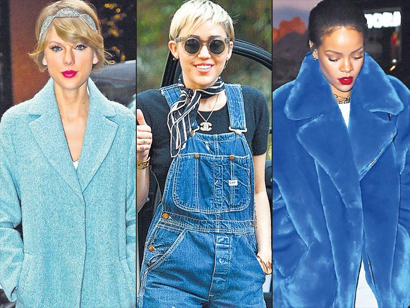 Who says covering up means sloppy? From faux fur coats to sexy knits, here's some celebrity inspiration to get you through the cold days. Singer Taylor Swift braved the cold in this coat paired with motif stockings. The boyfriend-fit coat is a rage this fall. Actor-singer Miley Cyrus rocks street chic with denim dungarees and a black tee and singer Rihanna turns all heads in her direction in her bright blue faux fur jacket.
