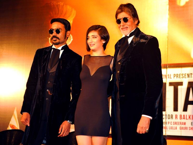 Dhanush, Akshara Haasan and Amitabh Bachchan at the trailer launch of their upcoming movie Shamitabh. (All photos-AFP)
