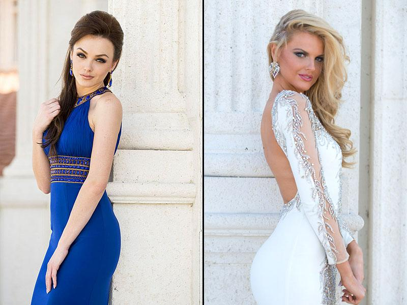 Artnesa Krasniqi, Miss Kosovo, pose in their evening gowns ahead of the event, which will see them attending cocktail receptions and fashion shows; Miss Great Britain 2014 Grace Levy poses in her evening gown (on the right).