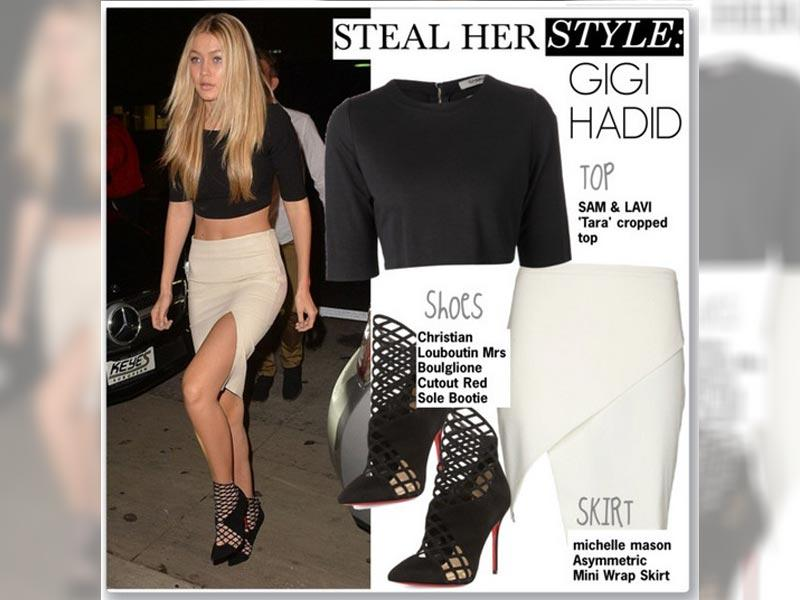Crop exposure: Gigi Hadid in a Sam & Lavi top, mason by michelle mason skirt, Christian Louboutin shoes.