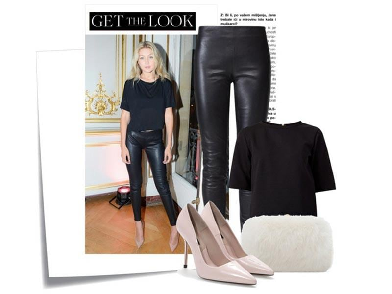 The skin you're in: Gigi Hadid in a New Look top, Gestuz leggings, Zara shoes and bag.