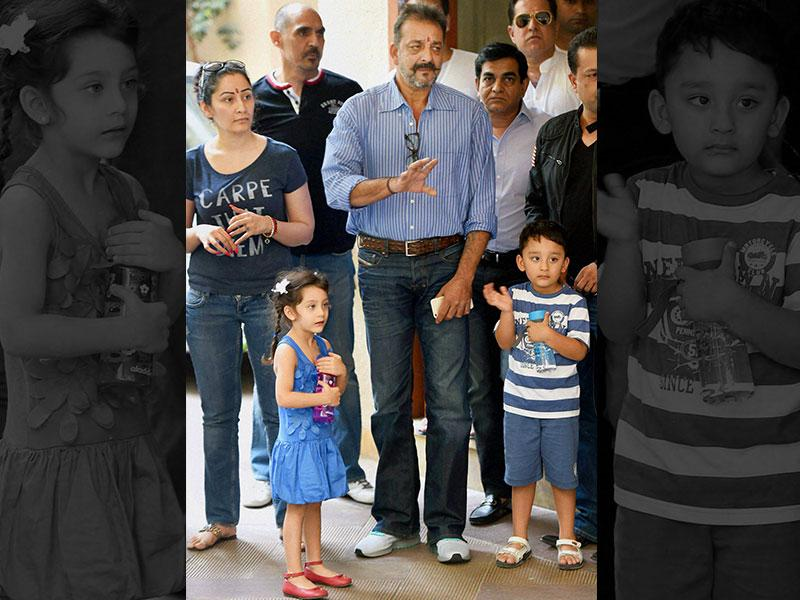 Sanjay Dutt and his wife Manyata with their kids before Snajay Dutt left for Yerawada Jail after the end of his two weeks' furlough in Mumbai on Thursday. (PTI Photo)