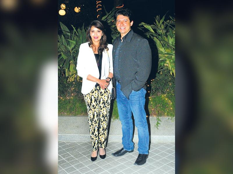 Madhuri Dixit with husband Shriram Nene were also there to wish the birthday girl Farah. (HT photo)
