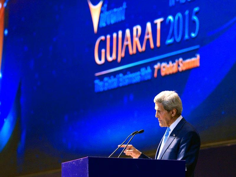 US secretary of state John Kerry speaks to the Vibrant Gujarat conference in Gandhinagar. (Reuters)