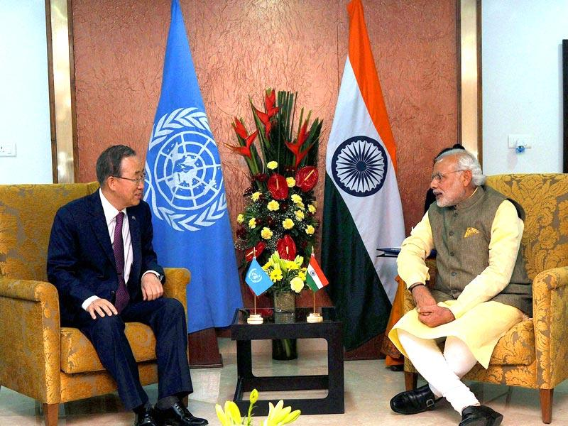 Prime Minister Narendra Modi with UN secretary general, Ban Ki Moon during the Vibrant Gujarat Global Summit 2015 in Gandhinagar, Gujarat. (PTI photo)