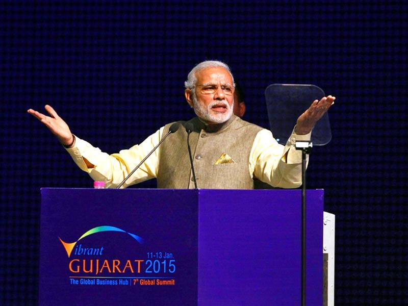 Prime Minister Narendra Modi gestures as he speaks at the Vibrant Gujarat Summit in Gandhinagar in Gujarat. (Reuters)