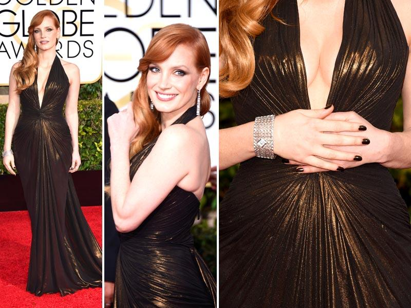With lots of easy breezy makeup, minimal jewelry and loose hair, the Golden Globes opened the awards season with a red carpet chock-full of sparkly metallics, bright whites and dramatic reds. Let's start with Jessica Chastain: The A Most Violent Year actor said it best of her ultra-shiny, plunging Atelier Versace: