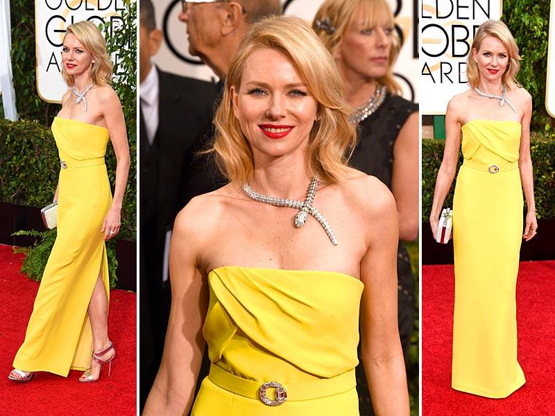 A chartreuse Gucci column gown worn by Naomi Watts with a knockout diamond Bulgari Serpenti necklace was a questionable color to others while she was lauded as a vision by Joyann King, editor of HarpersBazaar.com.