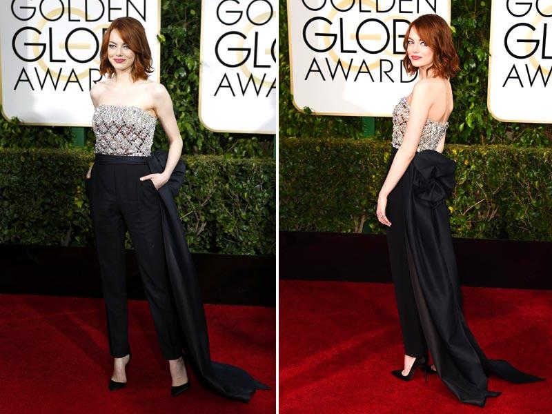 Style and beauty expert Mary Alice Stephenson added Emma Stone's sparkly silver-and-black Lanvin jumpsuit to her top five. It had a big floor-length sash at the waist, after all.