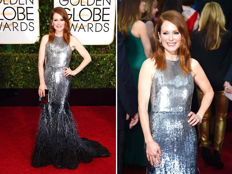 Among those lauded by fashion pros Sunday night at the Beverly Hills, California, awards night was Julianne Moore as she led a parade of silver in custom Givenchy Haute Couture by Riccardo Tisci. Her sequins faded to black and a cascade of feathers at the bottom.