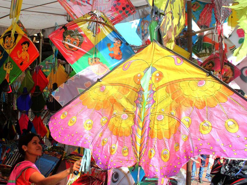 A kite put up for sale in Indore on Tuesday ahead of Makar Sankranti. (Shankar Mourya/HT photo)