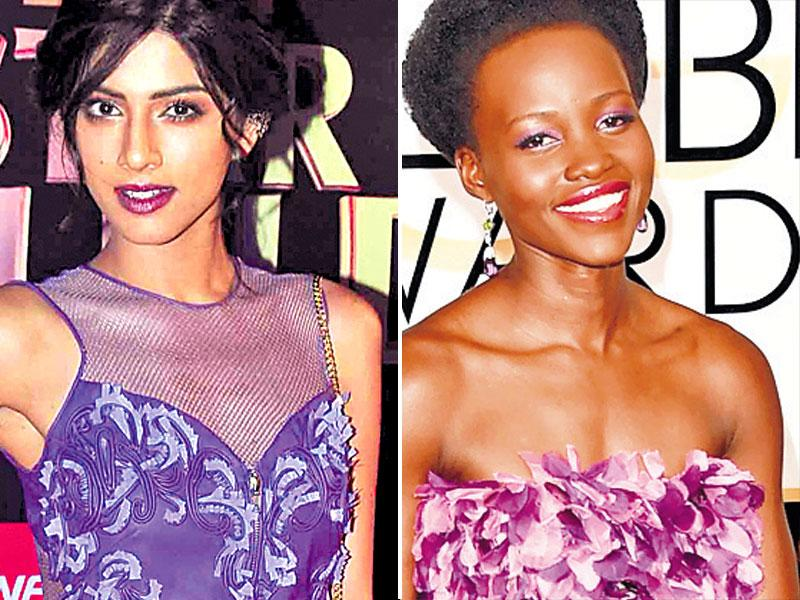The perfect match: Defying style rules, actors Sapna Pabbi (left) and Lupita Nyong'o matched their outfits with their makeup at their respective red carpet events. While Pabbi puckered up in plum lipstick, Lupita decked up her eyes in lilac.