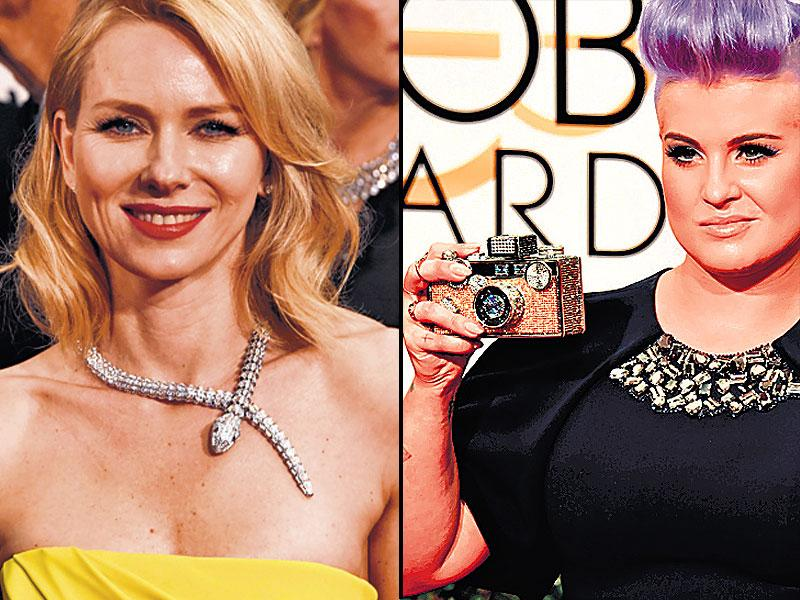 Bring on the bling: Actor Naomi Watts sports a snake necklace, singer Kelly Osbourne gets clicking in a camera-shaped clutch.