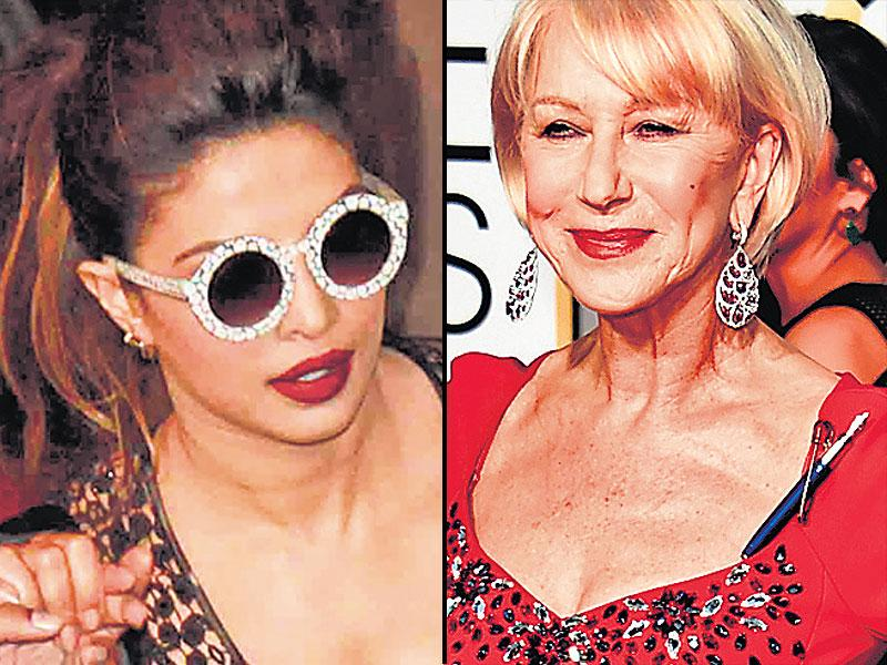 Bring on the bling: Actor Priyanka Chopra sports eclectic sunnies at a recent event, actor Helen Mirren lends support to the Charlie Hebdo tragedy by fashioning a pen into a brooch.