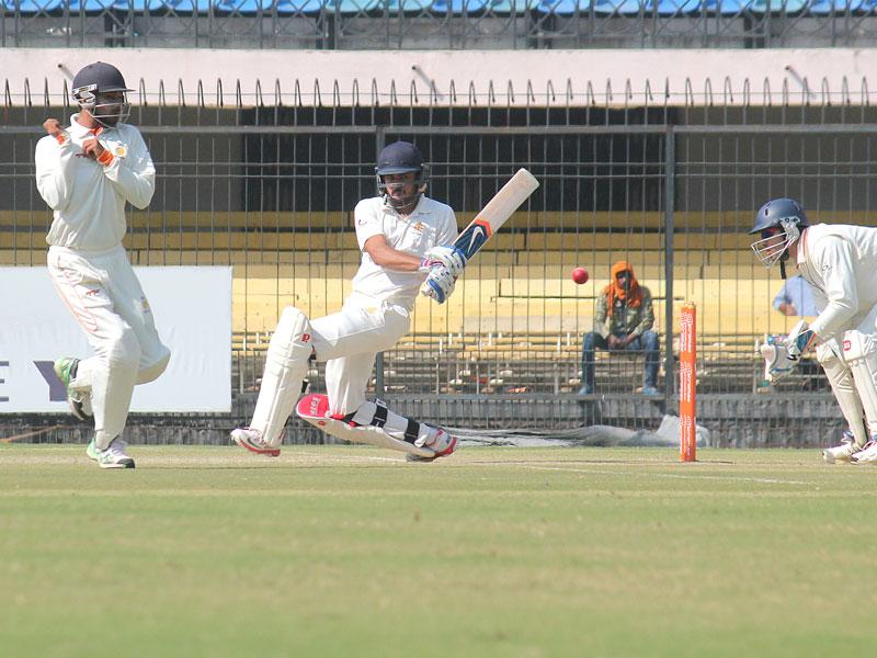 Manish Pandey of Karnataka in action during the Ranji match against Madhya Pradesh at Holkar Stadium in Indore on Thursday. (Shankar Mourya/HT photo)