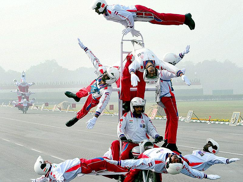 Army Daredevils perform during Army Day parade in New Delhi. (PTI photo)