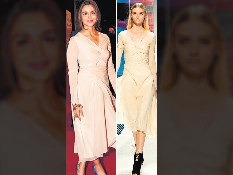 Simple strikes out: At an award function recently held in Dubai, young fashionista Alia Bhatt went for an uncharacteristic, creamy, rose-gold hued Dior number, from their cruise 2015 collection. Unfortunately, the look did not do much for the actor, apart from ageing her. While the fit and the colour kept the look from being a winner, the only saving grace seemed to be her matte magenta lip hue. Thus, this round goes to the ramp, where the simple dress was offset with statement peep-toes.