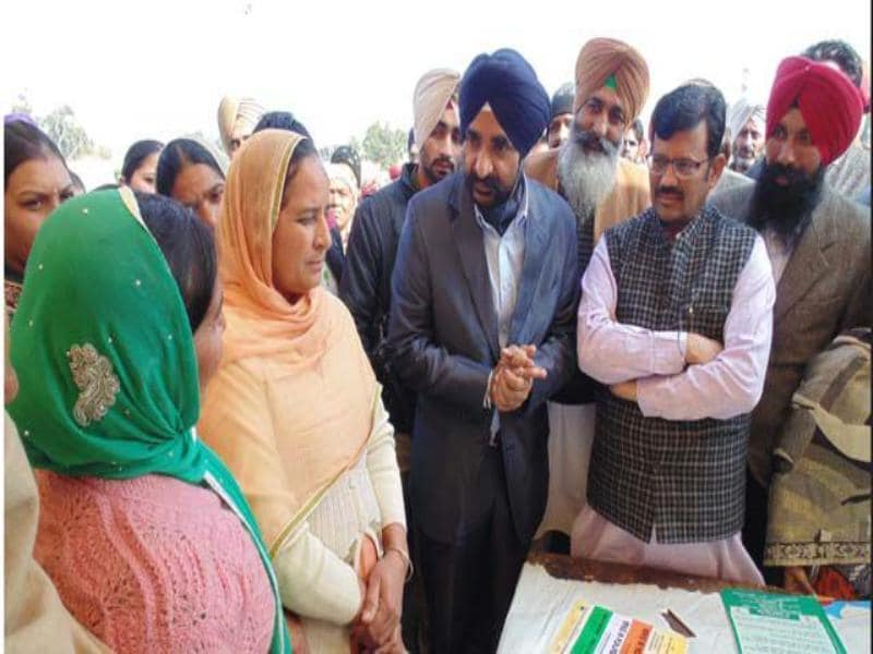 State BJP chief Kamal Sharma and deputy commissioner DPS Kharbanda at one of the stalls at the job fair held in Ferozepur on Thursday.