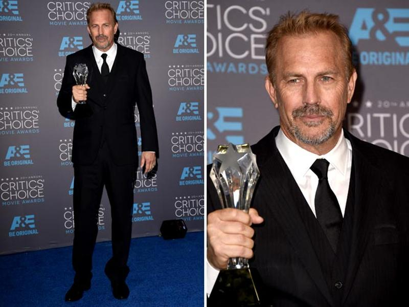 A very dashing Kevin Costner holding his award. (Agencies)