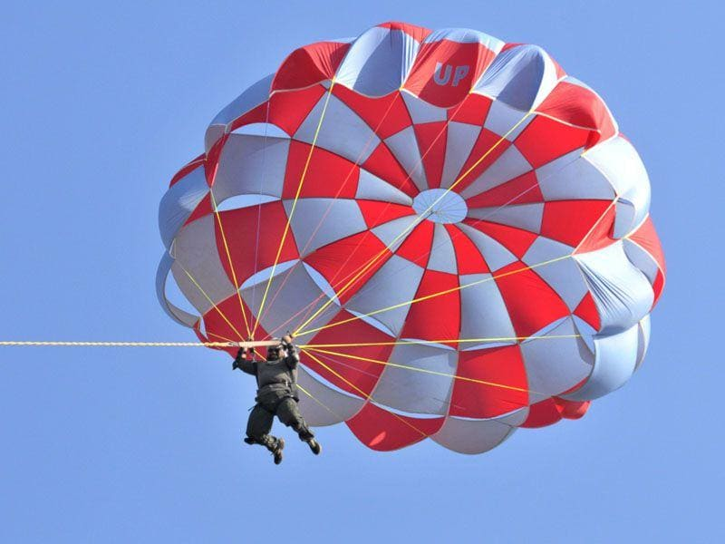 People enjoying the Parasailing at Sutlej river bed near Mattewara, Ludhiana on Monday. JS Grewal/HT