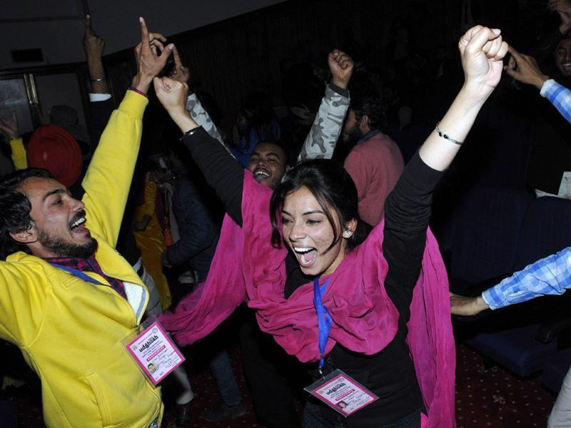 Students celebrating after receving awards on the concluding day of 30th Inter universities youth festival, in Jammu, on Monday. Nitin Kanotra /HT