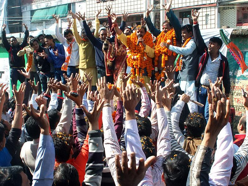 BJP's mayoral candidate Alok Sharma campaigns in Bhopal ahead of elections on January 31. (HT file photo)