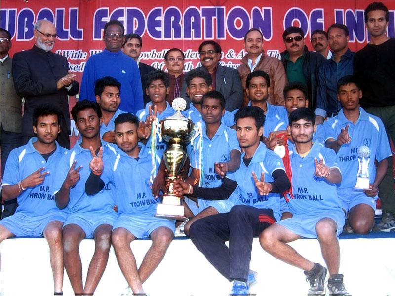 Madhya Pradesh men's throwball team wins the 37th national championship held in Bhopal on Monday. (HT photo)
