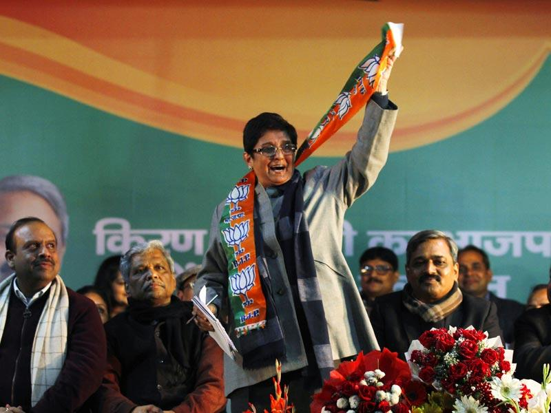 Kiran Bedi, who was part of Team Anna alongside Arvind Kejriwal, entered the political arena as the BJP's chief ministerial candidate in January 2015. (Virendra Singh Gosain/HT Photo)