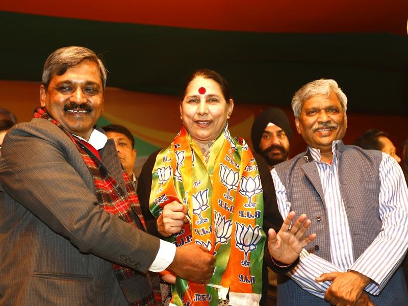 Former Congress heavyweight and the UPA government's MoS for women and child development Krishna Tirath joined the BJP just before the Delhi polls, in a surprise move. (Arun Sharma/HT Photo)