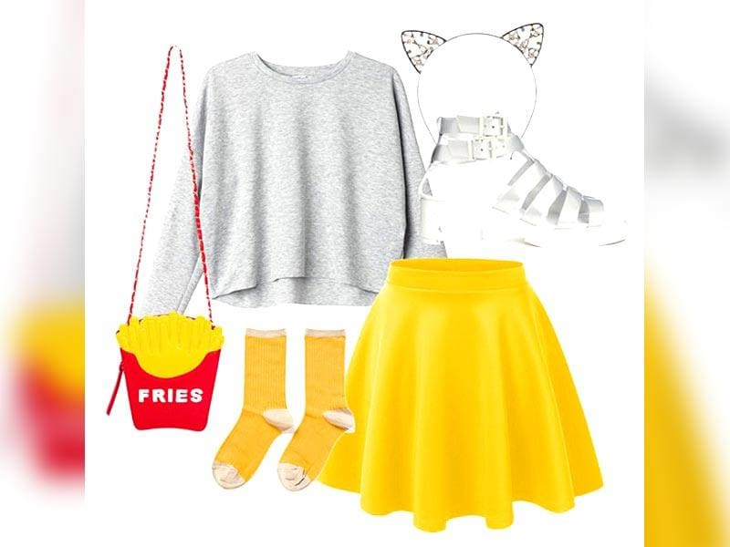 White, sunshine yellow and a pop of 'fries', this look is a punchy way to make a street fashion statement.