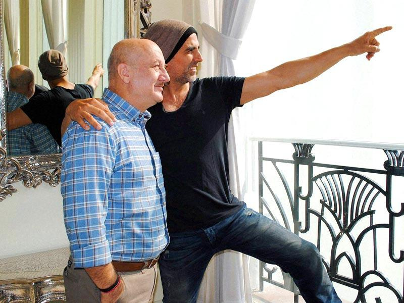 Actors Akshay Kumar and Anupam Kher were in New Delhi to promote Baby. (PTI Photo)