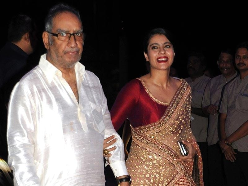 Kajol was seen at the reception along with father-in-law Veeru Devgan.