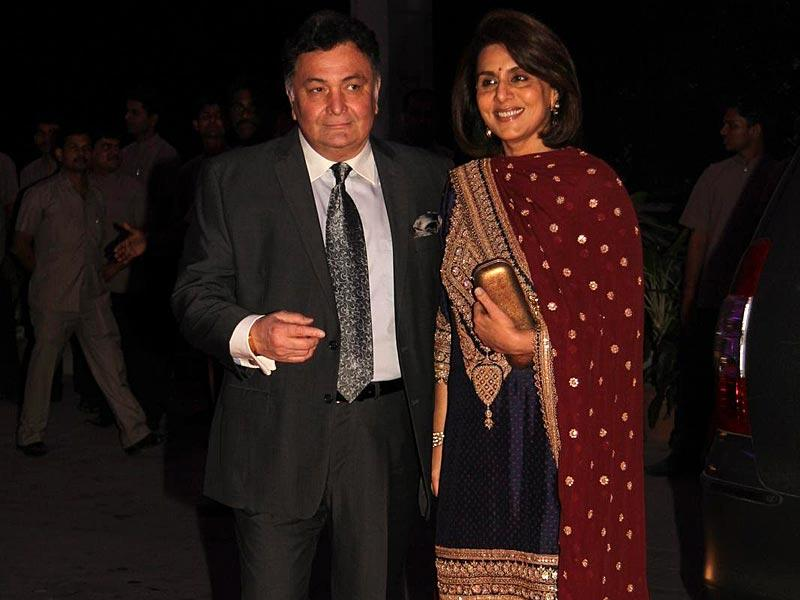 Rishi and Neetu Kapoor attend the wedding of Shatrughan Sinha's son.