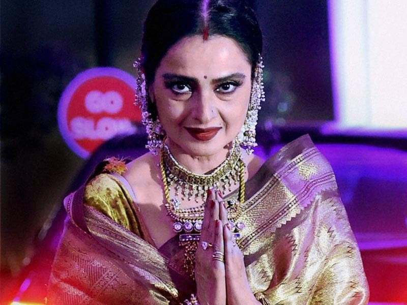 Rekha at the wedding reception of Shatrughan Sinha's son, Kussh. (AFP)