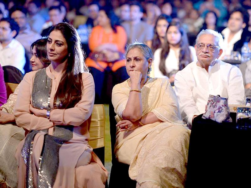 Tabu, Jaya Bachchan and Gulzar at the music launch of Shamitabh where Ilaiyaraaja was honoured for the movie that is his 1000th venture. (Photo: ShamitabhTheMovie/Facebook)