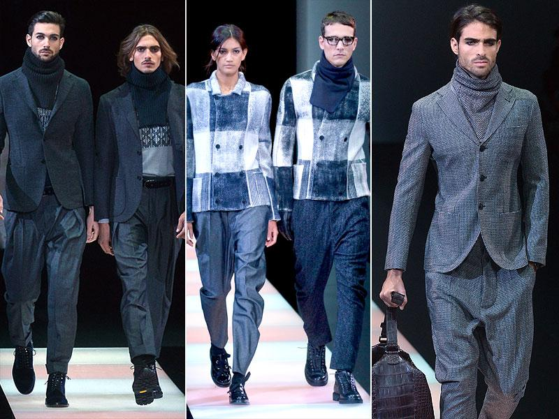Giorgio Armani mixed casual and conservative dress codes to typically slick effect with three-button suits and Nordic knits.