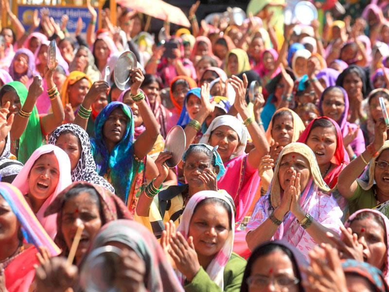 Anganwadi workers protest for their demands at Azad maidan in Mumbai. (Kunal Patil/HT photo)