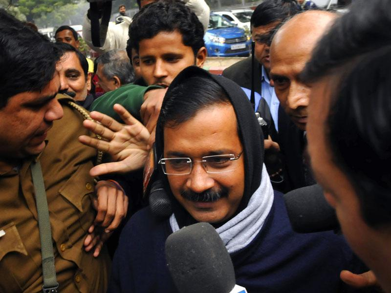AAP's candidate from New Delhi constituency, Arvind Kejriwal, arrives at Jamnagar House to file his nomination for the upcoming Delhi Assembly Elections 2015, in New Delhi. (File photo by Saumya Khandelwal/ HT)