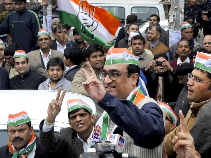 Ajay Maken, Congress candidate from Sadar Bazar constituency, arrives with his supporters to file his nomination papers for the upcoming Delhi Assembly elections 2015, at Shastri Park metro station, in New Delhi. (Photo by Sonu Mehta/ Hindustan Times)