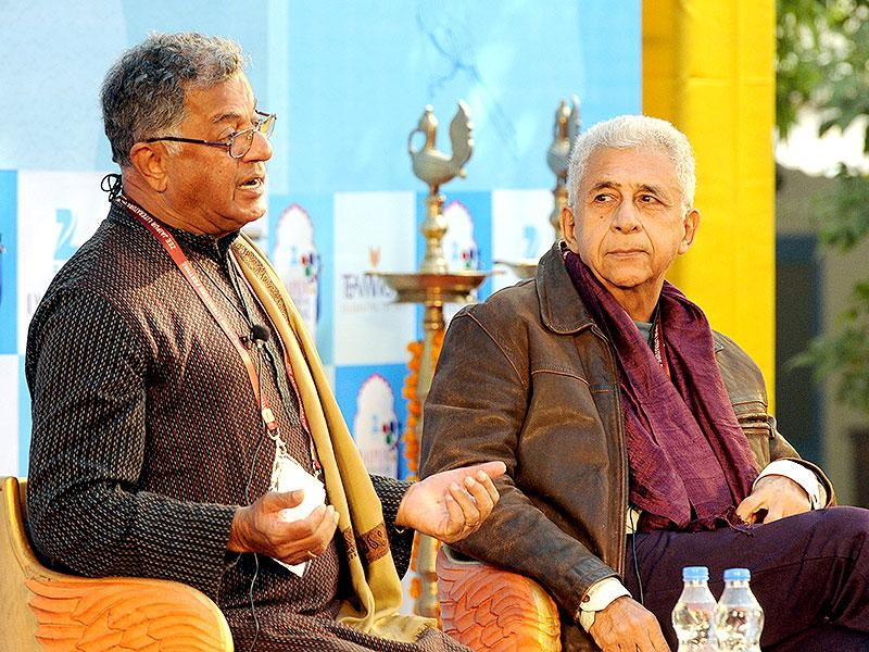 Girish Karnad and Naseeruddin Shah talks at a session on And Then One Day during the Litrature Festival. Photo by Mohd Zakir / Hindustan Times