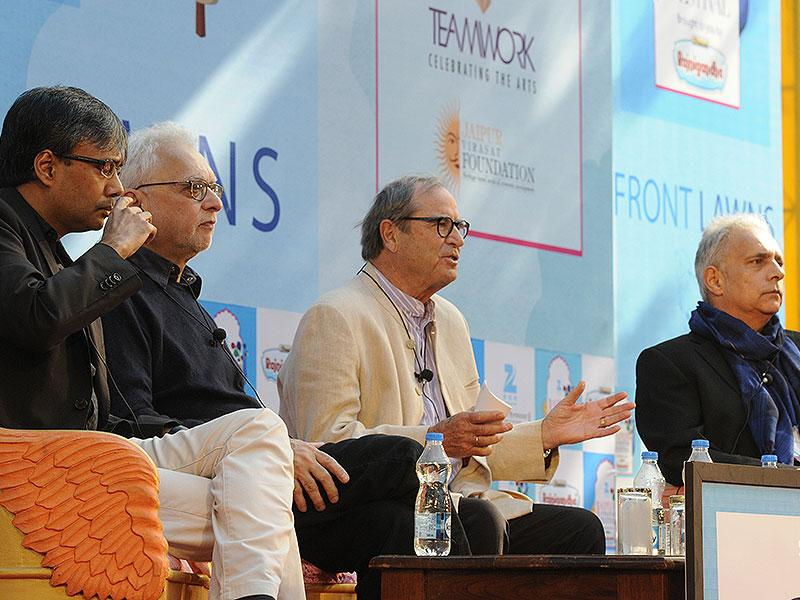 From left Amit Chaudhuri, Farrukh Dhondy, Paul Theroux and Hanif Kureishi at the session on A House for Mr Biswas by VS Naipaul. Photo by Mohd Zakir / Hindustan Times
