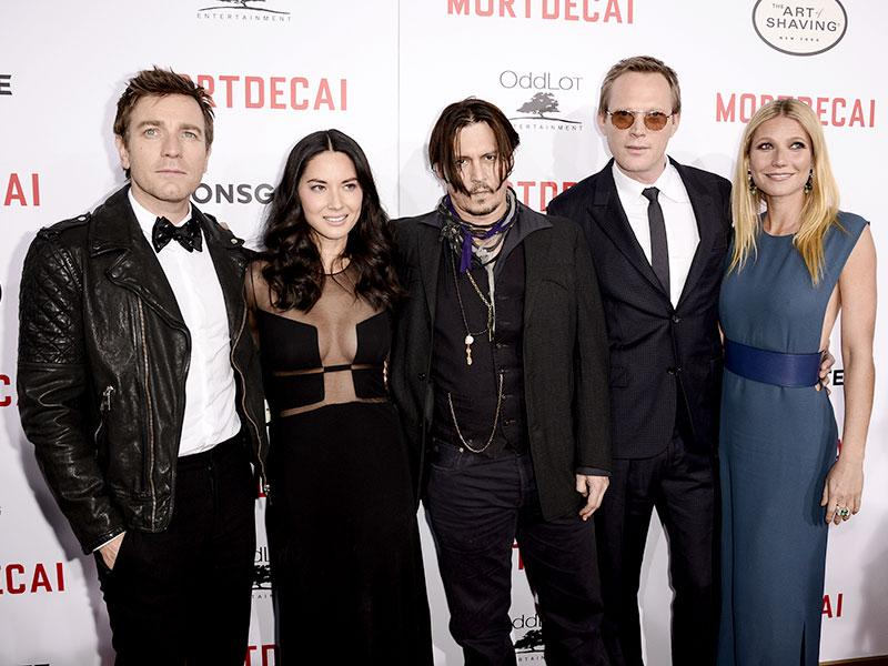 The cast of Lionsgate's Mortdecai at the premiere of the movie at TCL Chinese Theatre in Hollywood, California. (AP Photo)