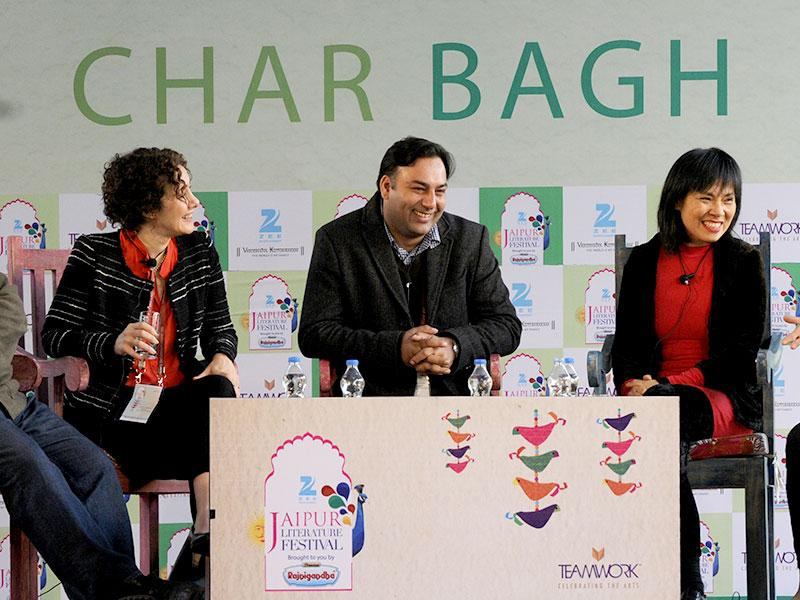 L to R: Mark Gevisser, Joanna Rakoff, Basharat Peer, Anchee Min and Brigid Keenan at a session on Selfie: The Art of the Memoir during the Literature Festival in Jaipur on Friday, 23 January 2015. (Photo: Mohd Zakir / Hindustan Times)