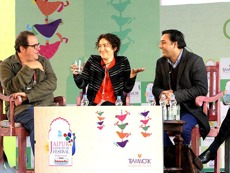 L to R: Mark Gevisser, Joanna Rakoff, Basharat Peer, Anchee Min and Brigid Keenan at a session during JLF 2015. (Photo: Mohd Zakir / Hindustan Times)
