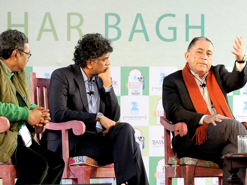 From left, Swapan Dasgupta, Aakar Patel, Gideon Levy, and Salima Hashmi at a session on Against the Garin during the Literature Festival in Jaipur on Friday, 23 January 2015. (Photo: Mohd Zakir / Hindustan Times)